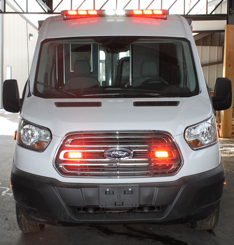 A view from the front of a Ford Transit Ambulance from Miller Coach
